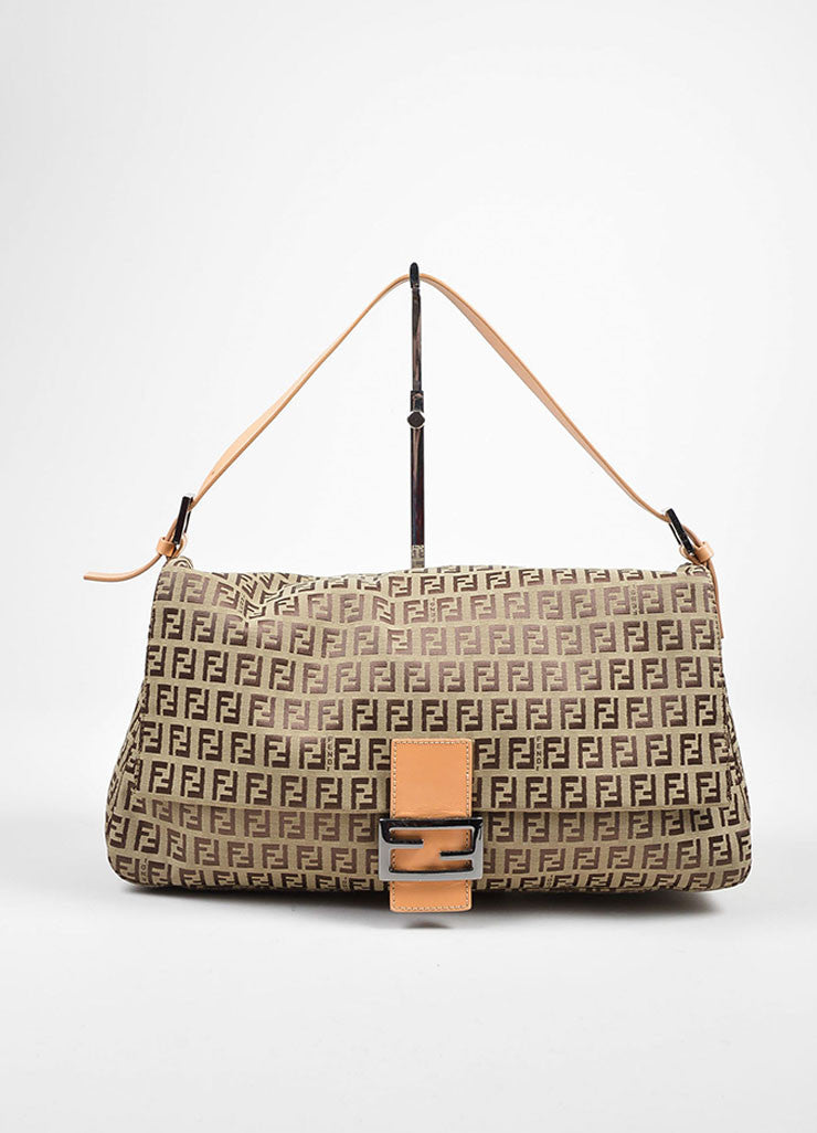 "Brown Fendi 'FF' Monogram Canvas ""Zucchino Mama Forever"" Shoulder Bag Frontview"