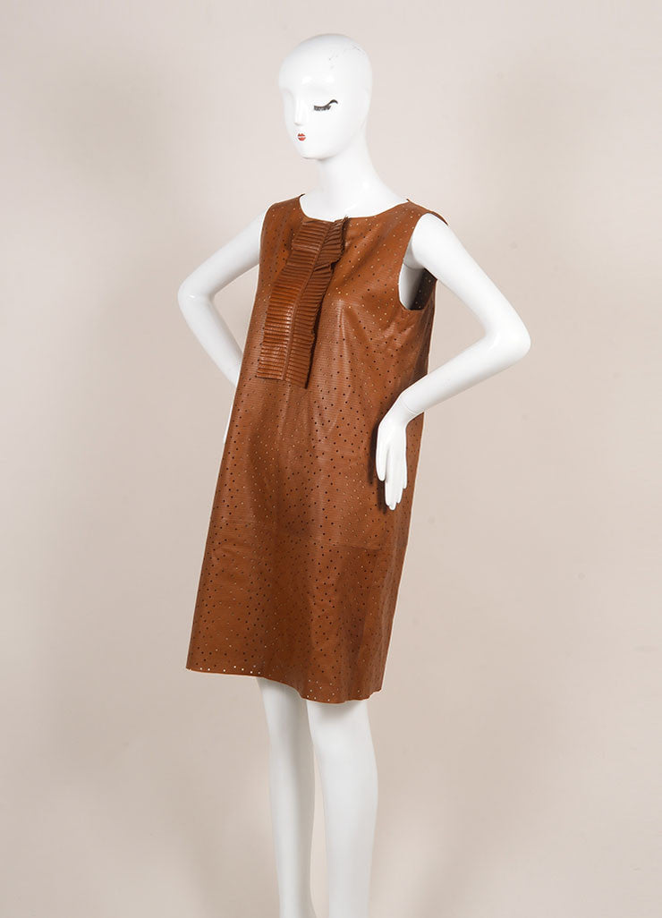 Fendi Brown Preforated Sleeveless Leather Shift Dress Sideview