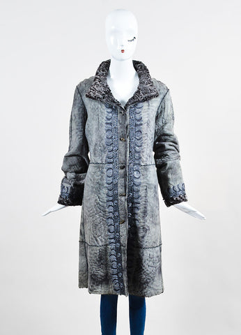 Giuliana Teso Grey Suede Leather Shearling Fur Embroidered Embellished Coat Frontview 2
