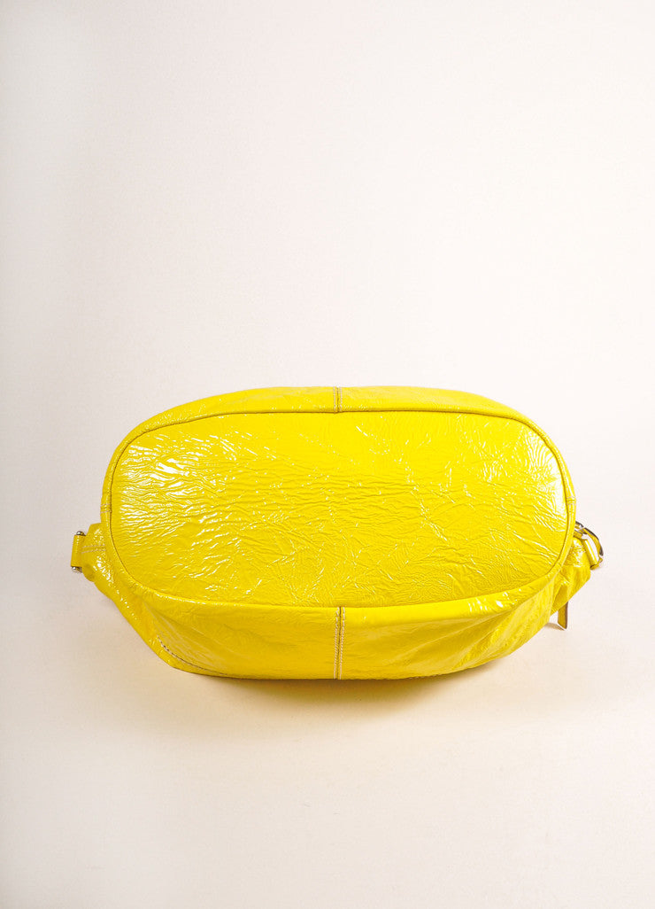 "Givenchy Canary Yellow Crinkled Patent Leather Medium ""Nightingale"" Bag Bottom View"