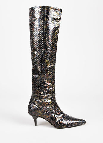 Gucci Black Bronze Multicolor Python Iridescent Knee High Boots Side
