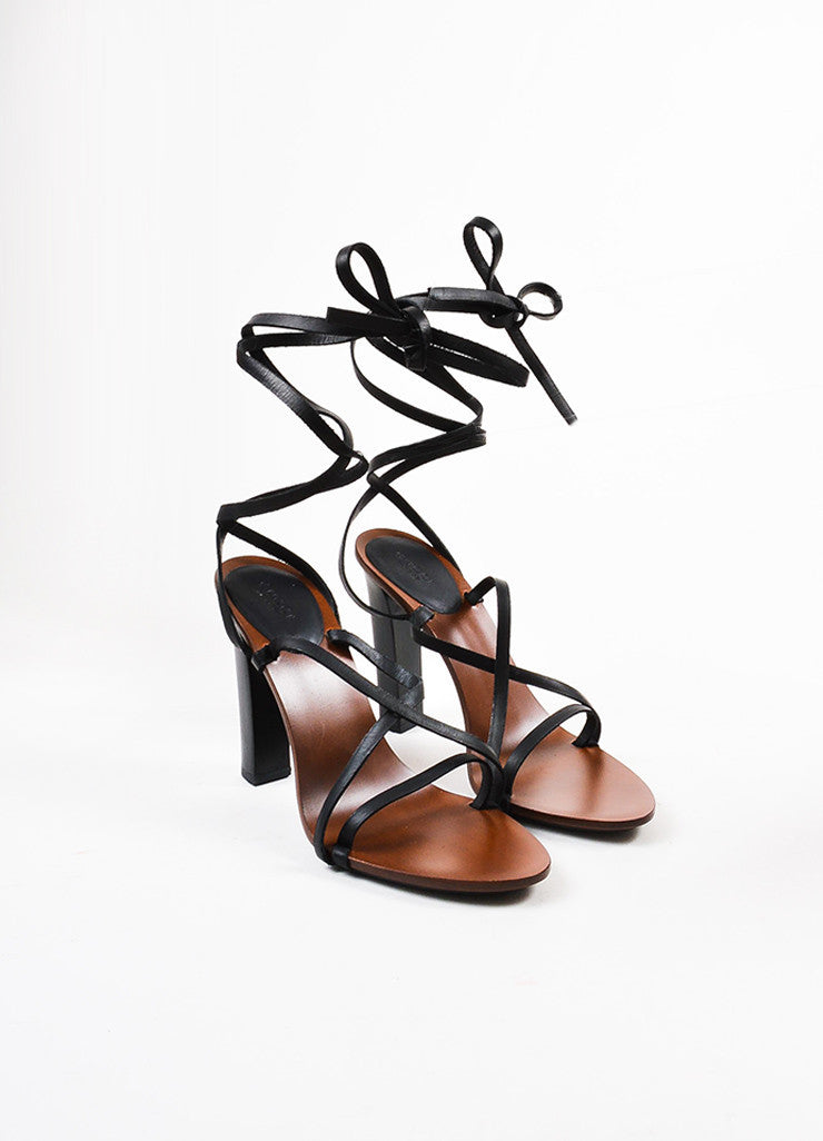 Gucci Black and Brown Leather and Wood Wraparound Strap Tower Heel Sandals Frontview