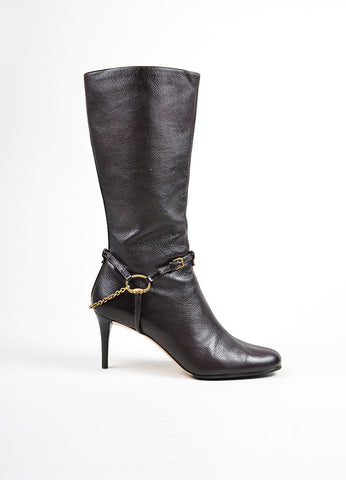 Brown Gucci Leather Mid Heel Side Zip Knee High Boots Sideview