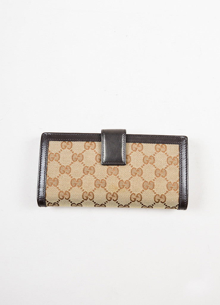 "Gucci Brown and Tan Canvas and Leather Monogram ""Interlocking G Continental"" Wallet Backview"