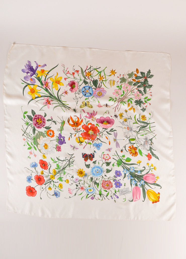 Gucci Cream and Multicolor Floral and Insect Print Silk Scarf Frontview 2