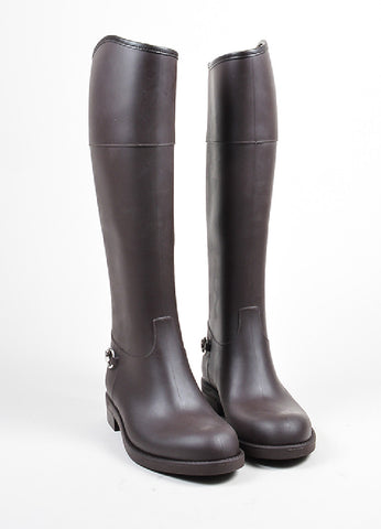 Brown Gucci Rubber Horsebit Accent Knee High Rain Boots Frontview