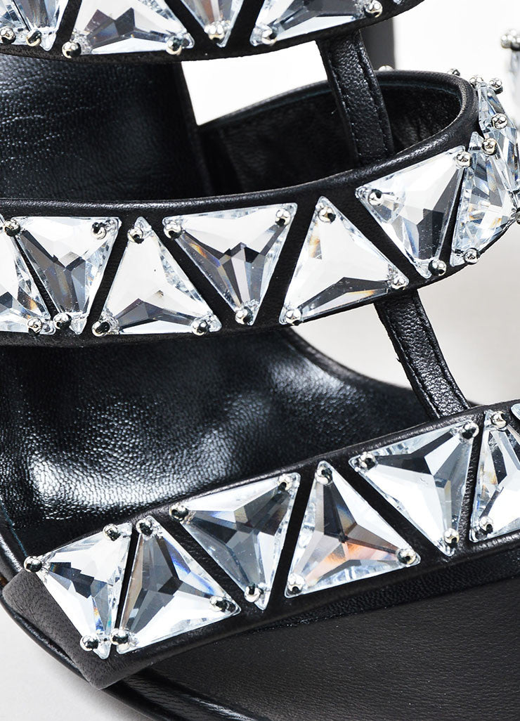 Black Gucci Leather Crystal Embellished Caged Sandals Detail