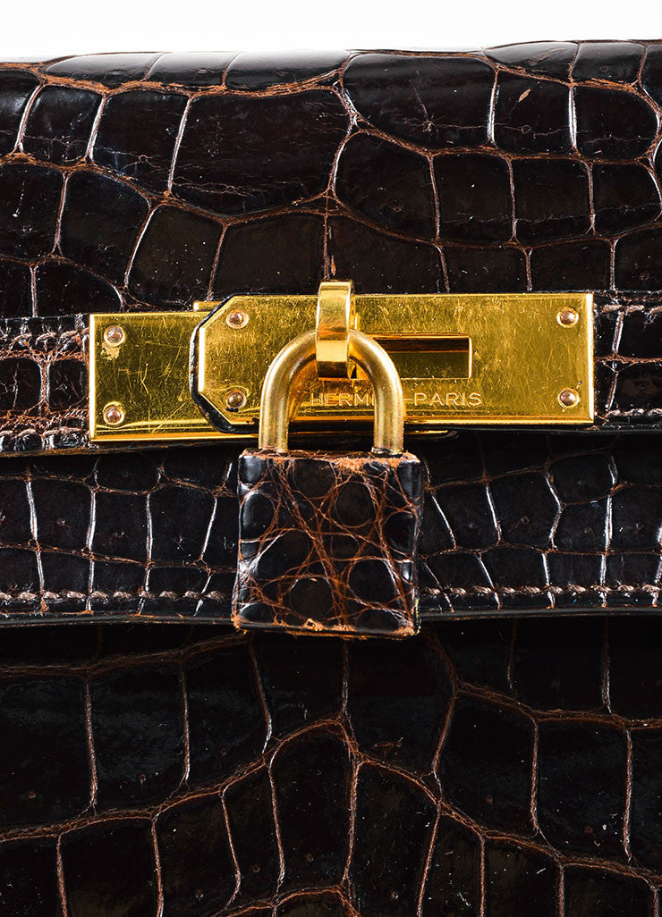 "Hermes Brown and Gold Toned Porosus Shiny Crocodile ""Kelly 32"" Handbag Detail 5"