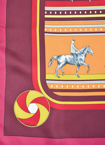 Burgundy, Orange and Red Silk Hermes Equestrian Scarf Detail