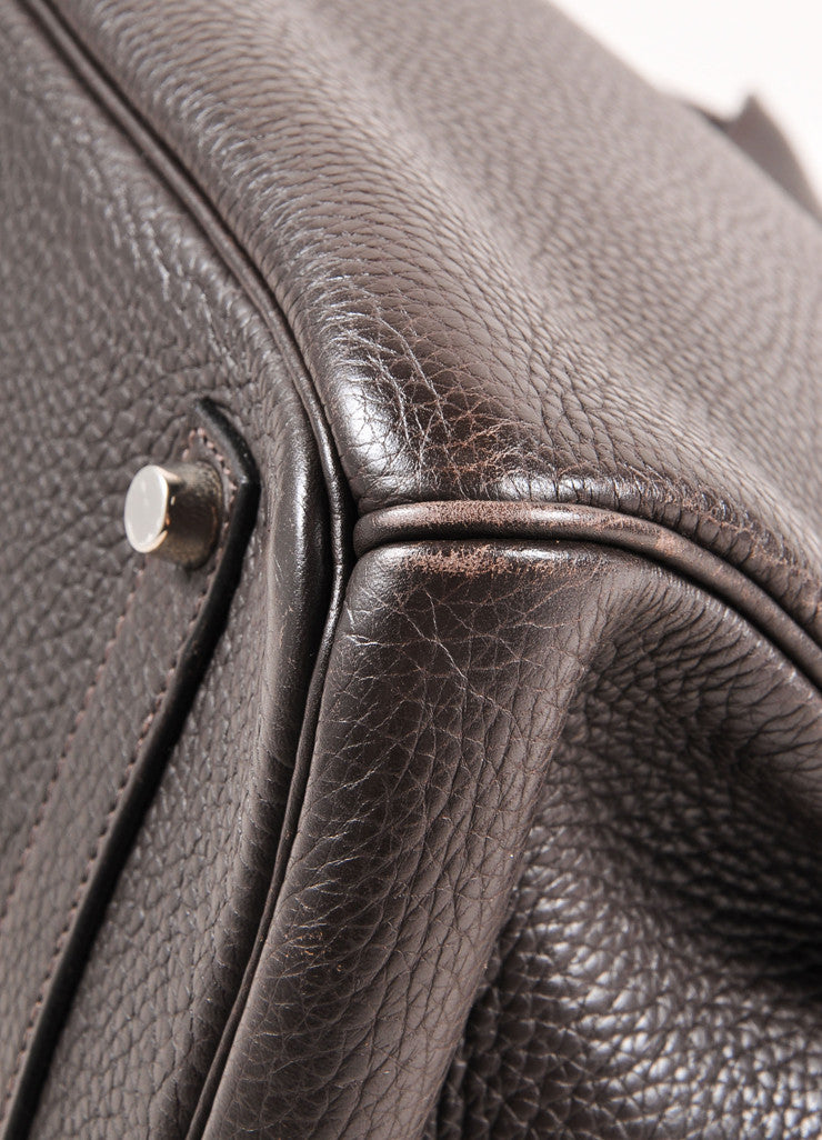 "Hermes Chocolate Brown and Silver Toned Palladium Clemence Leather 35cm ""Birkin"" Bag Detail 2"