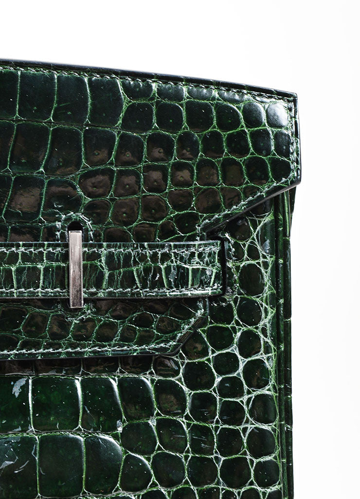 "Dark Green Hermes Crocodile Porosus Shiny Leather ""35cm Birkin"" Bag Detail 5"