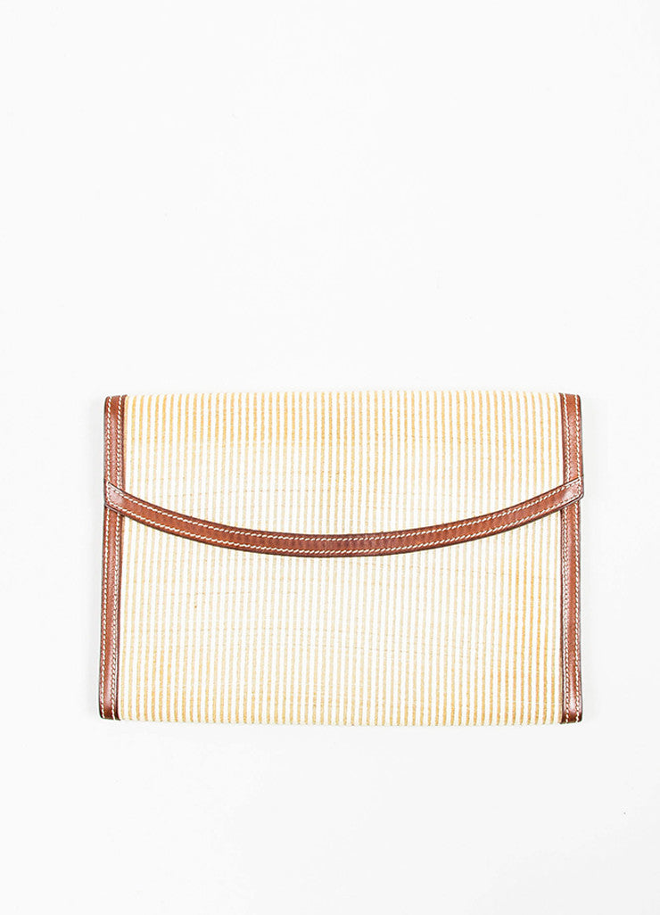"Cream and Brown Hermes Crinoline and Barenia Leather ""Rio"" Flat Clutch Bag Frontview"