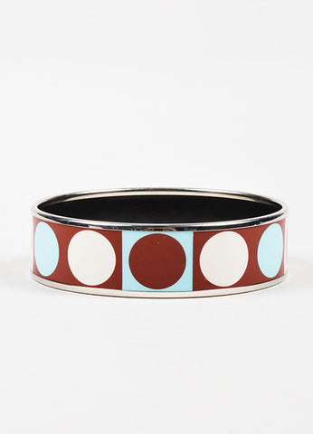 Hermes Silver Toned, Maroon, and Teal Enamel Geometric Print Bangle Bracelet Frontview 2