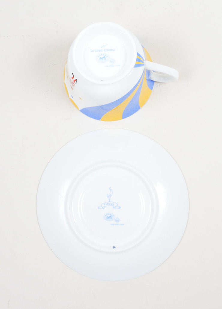 "White, Yellow and Blue Hermes Porcelain ""Le Clown Dresseur"" Circus Teacup & Saucer Bottom"