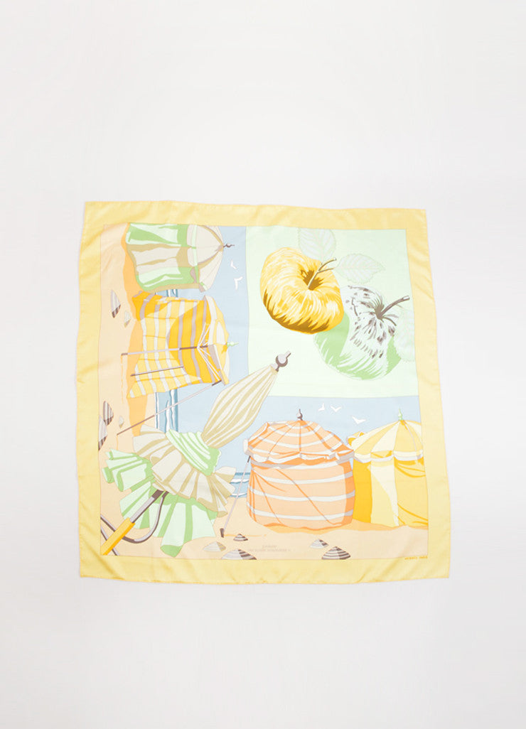 "Hermes Multicolor Silk Twill ""Charmes Des Plages Normandes II"" Printed 90cm Scarf Frontview"