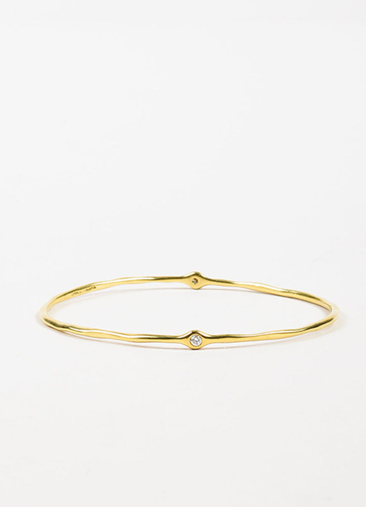 "Ippolita 18K Yellow Gold ""Glamazon"" 2 Diamond Bangle Bracelet Frontview"