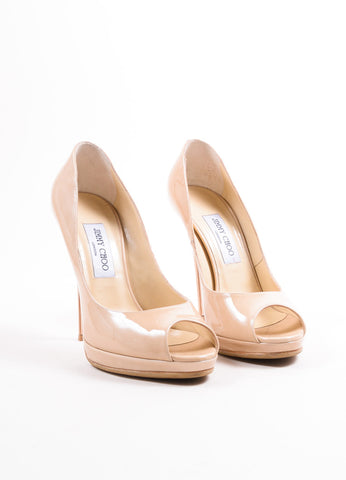 "Jimmy Choo Beige Nude Patent Leather ""Quiet"" Peep Toe Platform Pumps Frontview"