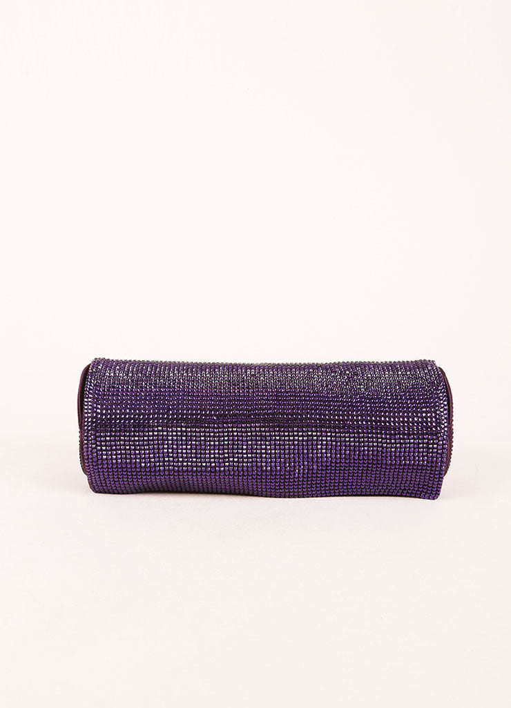 Judith Leiber Purple Crystal Rhinestone Barrel Clutch Bag Frontview