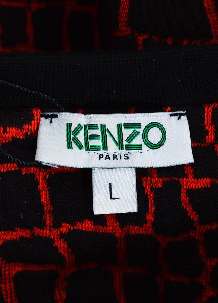 Kenzo Black and Red Textured Pullover Sweater Brand