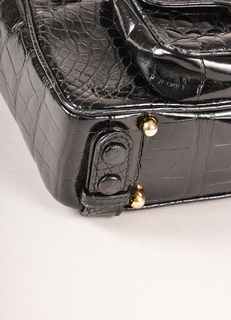 Lana Marks Black Alligator Convertible Backpack Detail