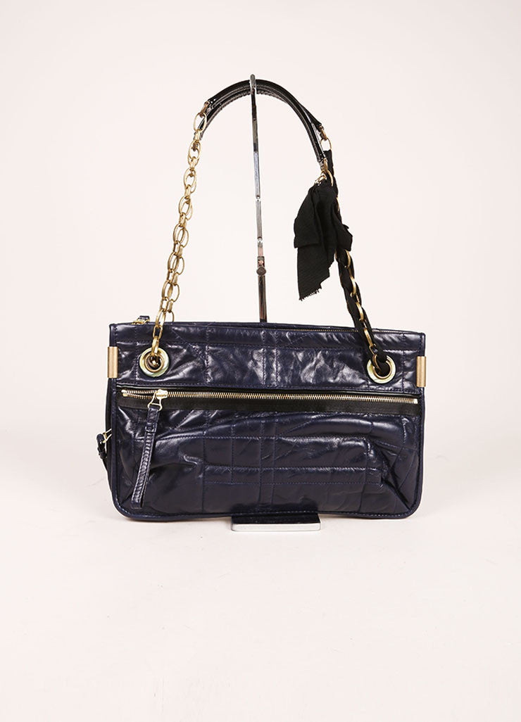 "Lanvin Navy Leather Quilted Medium ""Amalia MM"" Shoulder Bag Frontview"
