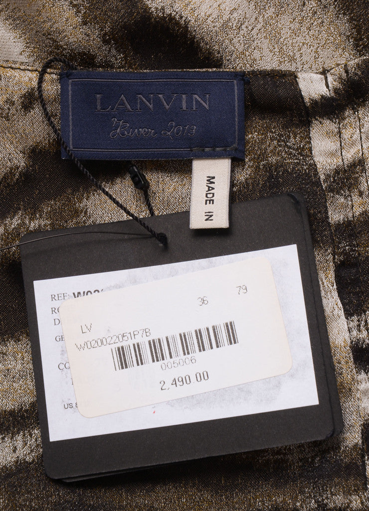 Lanvin New With Tags Black and Grey Silk Zebra Print Sleeveless Shift Dress Brand