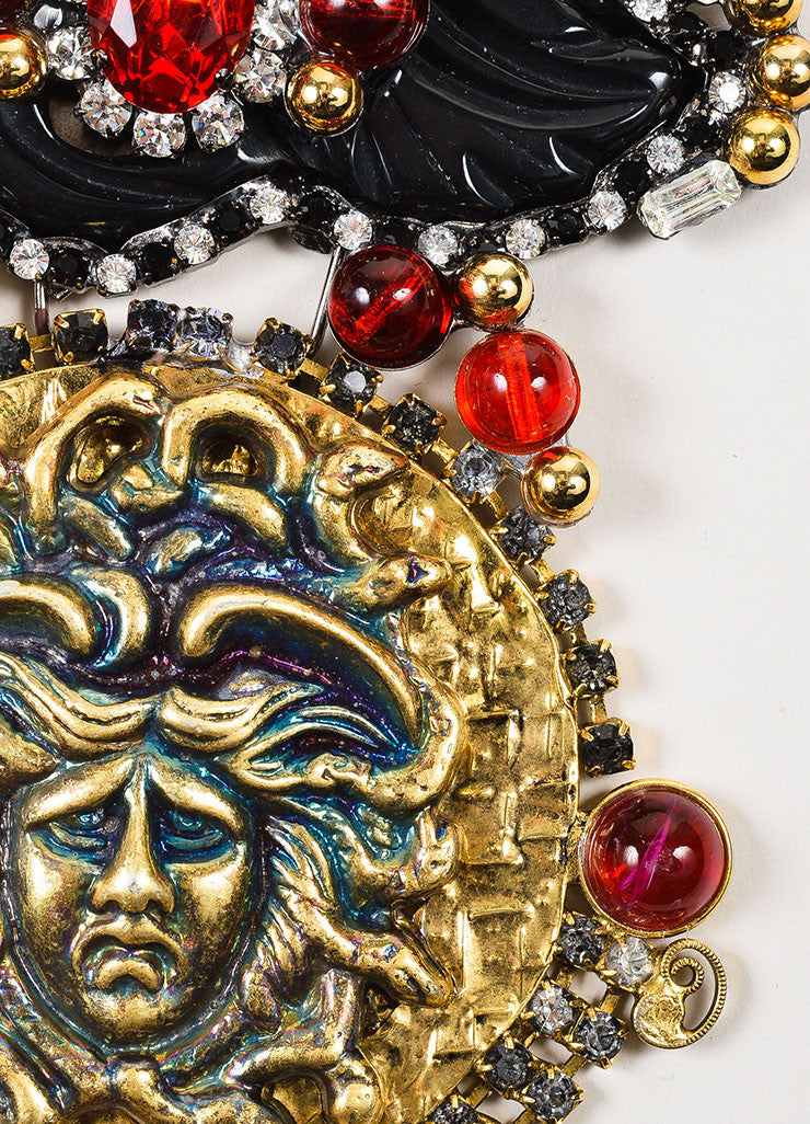 Lawrence Vrba  Gold Toned, Red, and Black Crystal Medusa Pendant Statement Necklace Detail 2