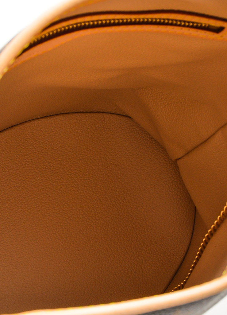 "Louis Vuitton Brown Coated Canvas ""Petite Bucket"" Bag Interior"