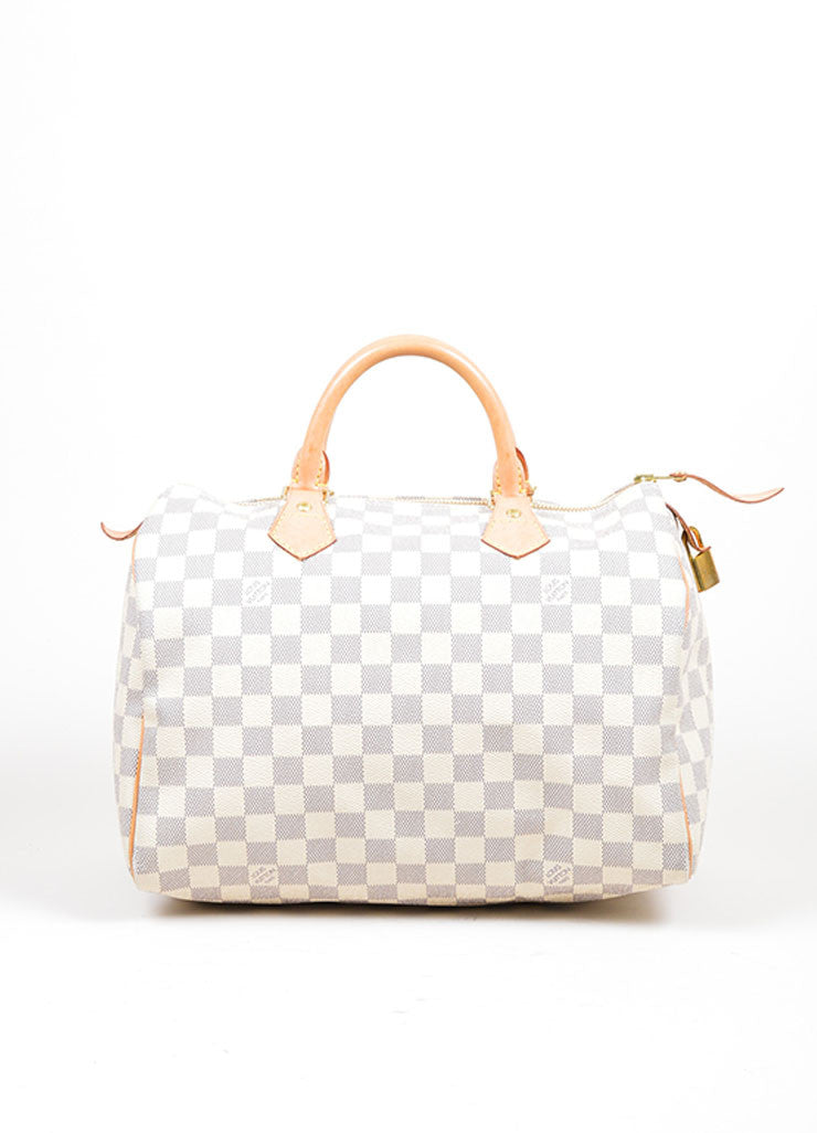 "Cream and Blue Coated Canvas and Leather ""Damier Azur Speedy 30"" Bag Frontview"