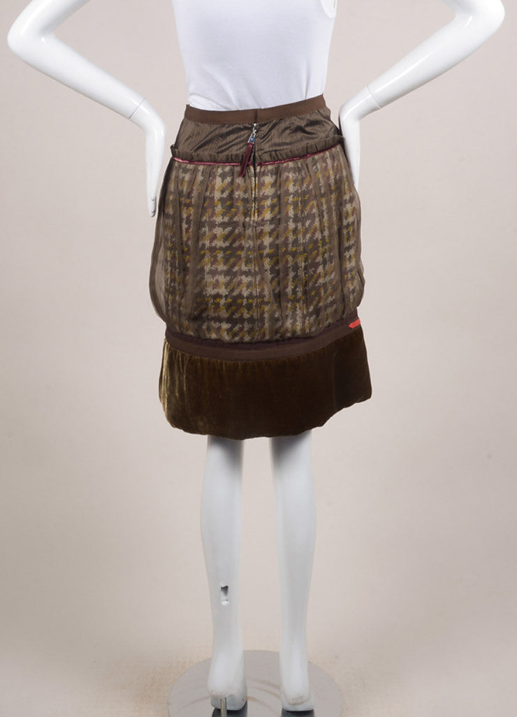 Louis Vuitton Brown and Green Chiffon Woven Knit Velvet Trim Pleated Skirt Backview