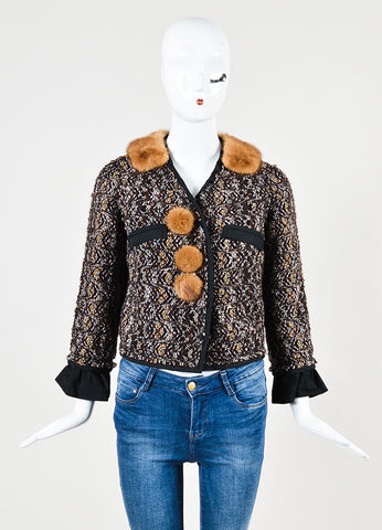 Louis Vuitton Brown, Pink, and Black Tweed Fur Trim Crop Snap Jacket Frontview 2