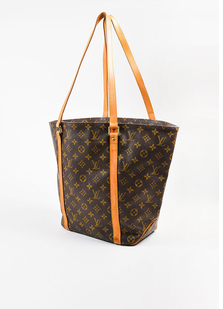 "Louis Vuitton Brown and Tan Monogram Coated Canvas ""Sac Shopping"" Tote Bag Sideview"