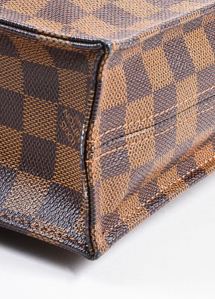 "Louis Vuitton ""Ebene"" Brown Coated Canvas Leather ""Damier Sac Plat NM"" Bag Detail"