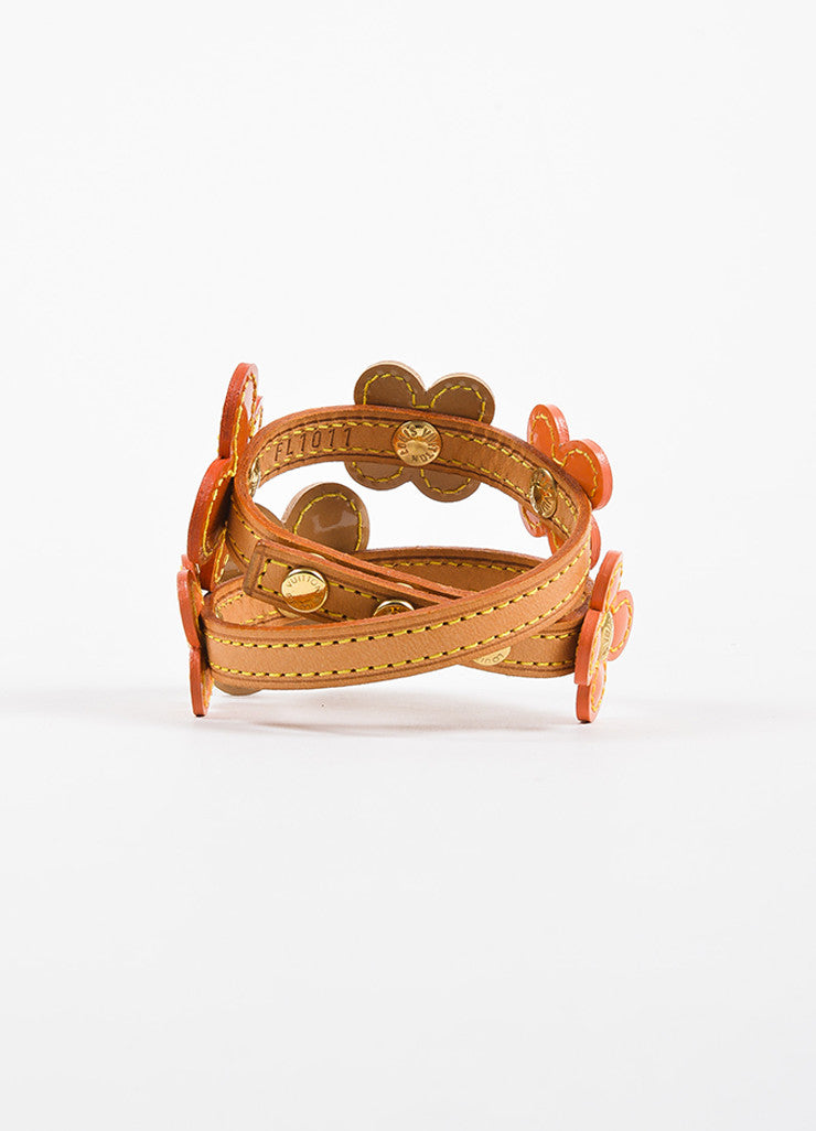 "Louis Vuitton Orange Tan Patent and Vachetta Leather ""Vernis Fleur"" Wrap Bracelet Backview"