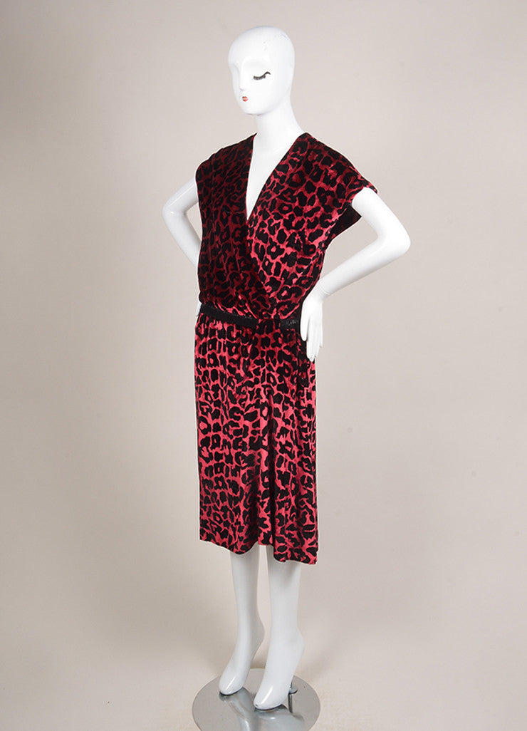 Marc Jacobs Burgundy Red and Black Velvet Leopard Print Beaded Wrap Dress Sideview