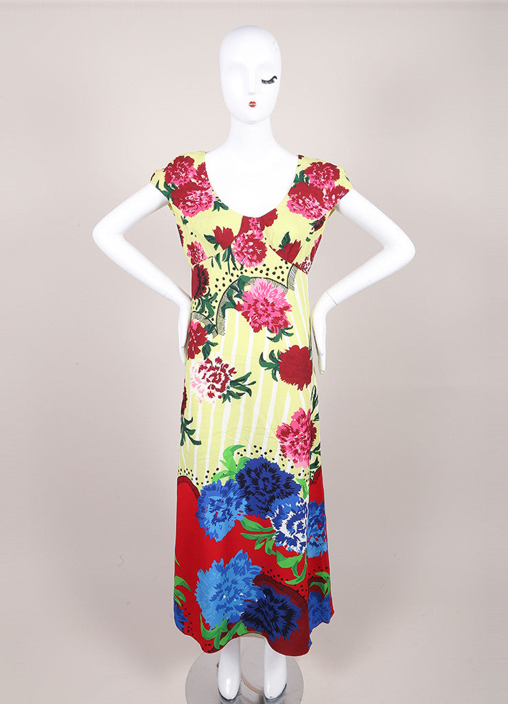 Marc Jacobs New With Tags Multicolor Floral Print Cap Sleeve Open Back Dress Frontview