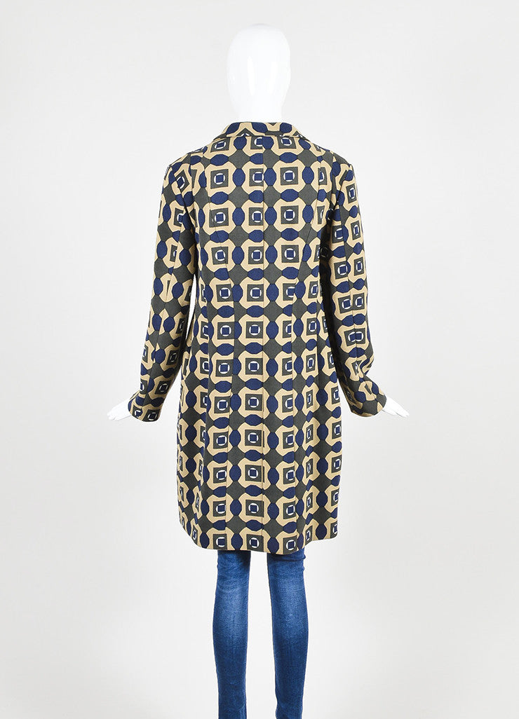 Tan, Green, and Blue Marni Woven Wool Geometric Print Three Button Long Coat Backview