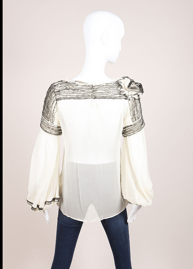 Maurizio Pecroraro Cream and Black Sheer Silk Long Sleeve Ruffle Blouse Backview