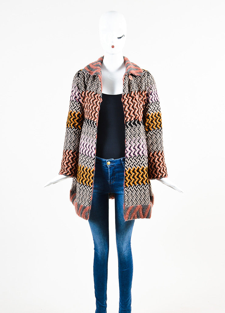 "Missoni Multicolor Crochet Knit Round Collar ""Cappotto"" Jacket Frontview"