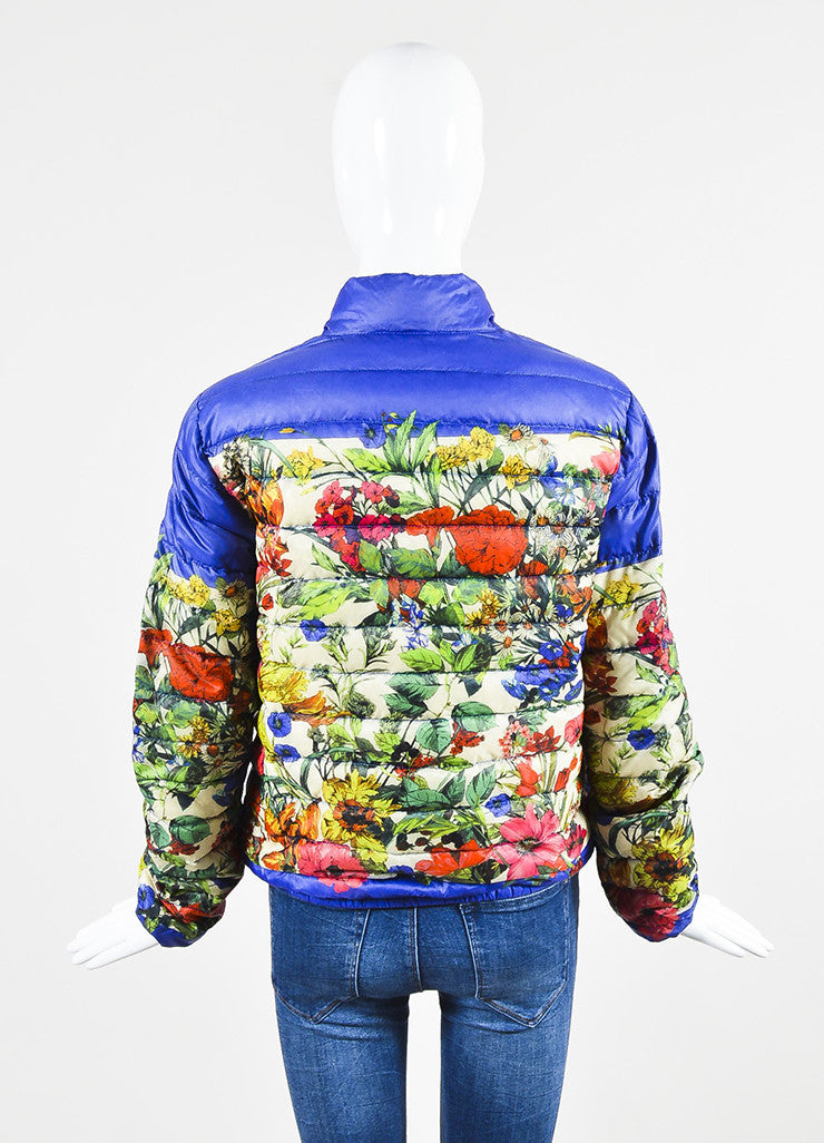 Moncler Blue and Multicolor Nylon Down Floral Print Puffer Jacket Backview