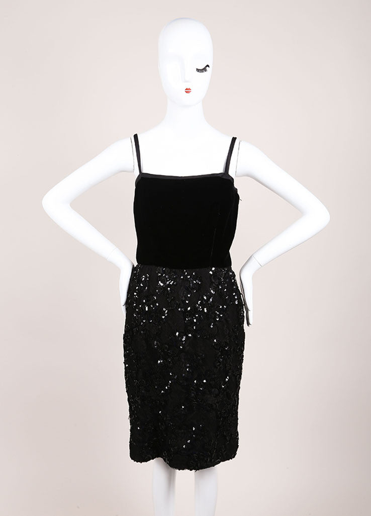 Oscar de la Renta Black Velvet Mesh Sequin Trim Sleeveless Cocktail Dress Frontview