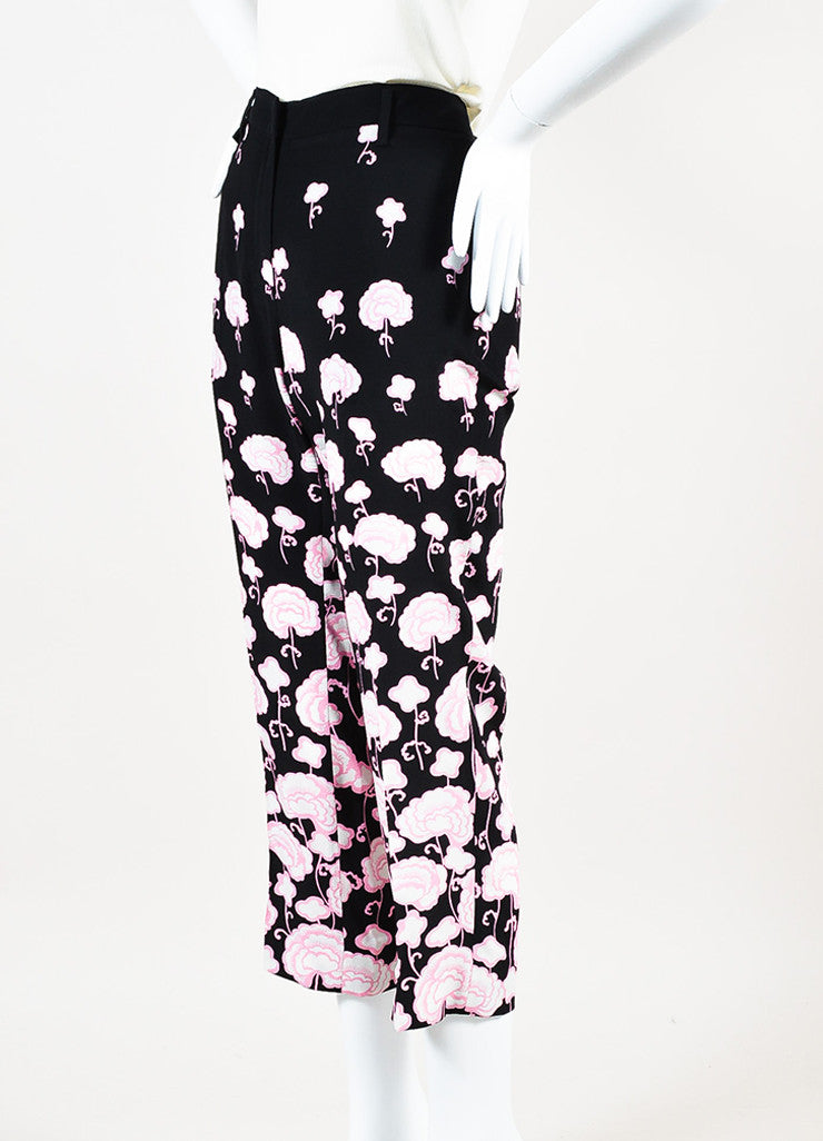 Prada Black and Pink Silk Floral Print Straight Leg Ankle Trouser Pants Sideview