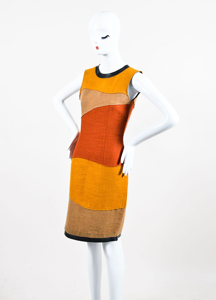 Proenza Schouler Yellow, Tan, and Rust Woven Wool Color Block Sleeveless Shift Dress Sideview
