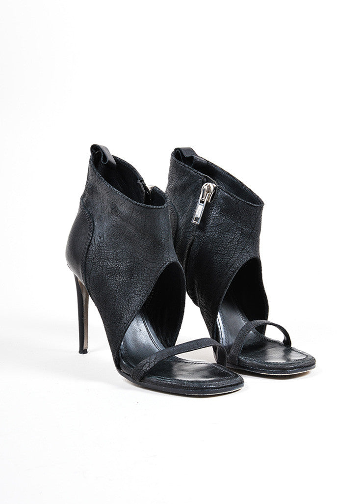 Rick Owens Black Leather Open Toe Heeled Booties Frontview