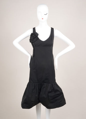 "Sonia Rykiel New With Tags Black Rosette Applique Sleeveless ""Memory"" Dress Frontview"