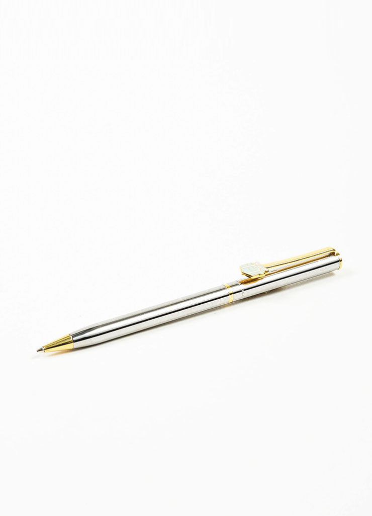 Silver and Gold Toned Tiffany & Co. Blue Enamel Present Ballpoint Pen Sideview