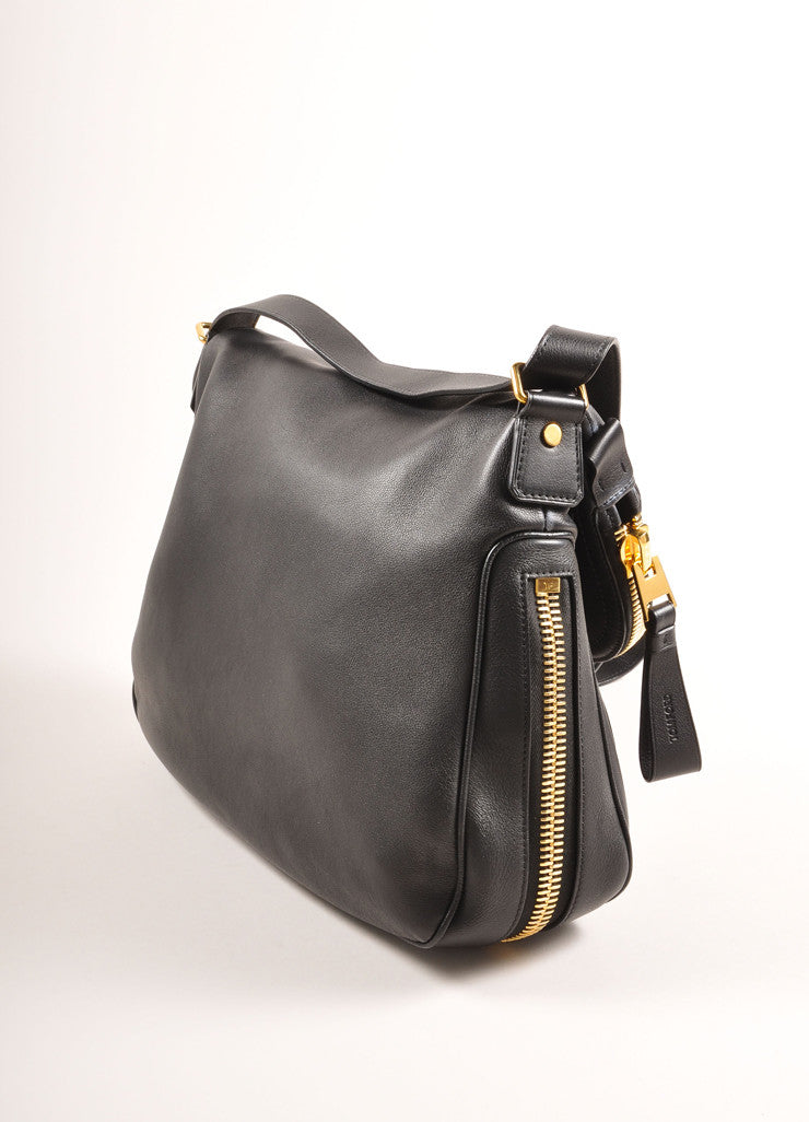"Black and Gold Toned Chunky Zip Flap Leather ""Jennifer"" Cross Body Bag"