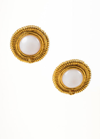 Chanel Gold Toned and Faux Pearl 'CC' Ribbed Clip On Button Earrings Frontview