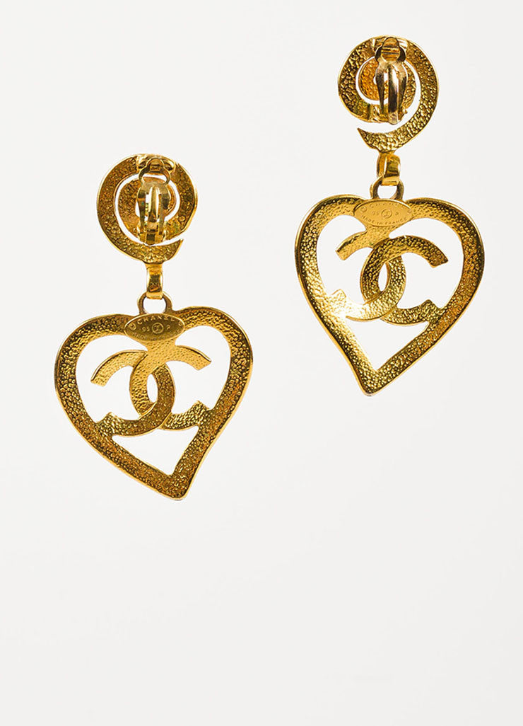Chanel Gold Toned 'CC' Logo Heart Drop Clip On Statement Earrings Backview