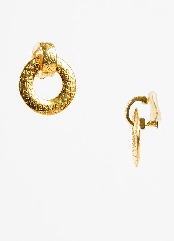 Chanel Gold Toned Letter Script Convertible Post Hoop Clip On Earrings Sideview